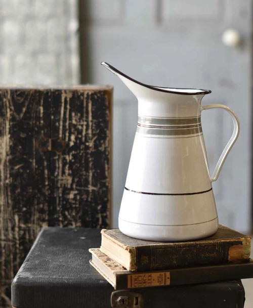 French Country Farmhouse Enamelware Pitcher