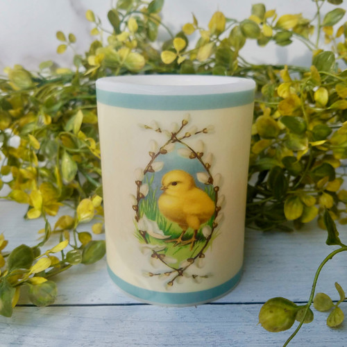 "4"" LED Farmhouse Pillar Candle Chick with Pussywillows"