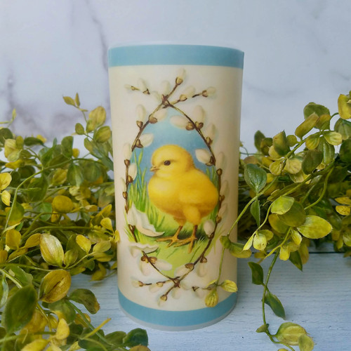 """6"""" Farmhouse Battery Pillar Candle Chick with Pussywillows"""