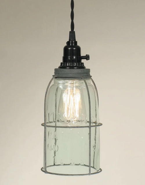 Farmhouse Mason Jar Pendant Lamp with Industrial Cage