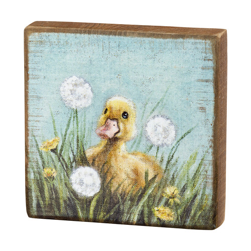 Springtime Duckling in Dandelions Block Sign
