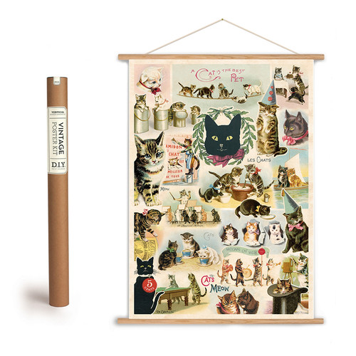 Vintage Cat Collage Poster + Hanging Kit