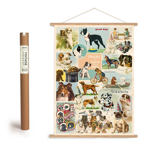 Vintage Dog Collage Art Poster + Hanging Kit