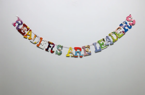 """Readers Are Leaders"" Upcycled Baby Book Garland"