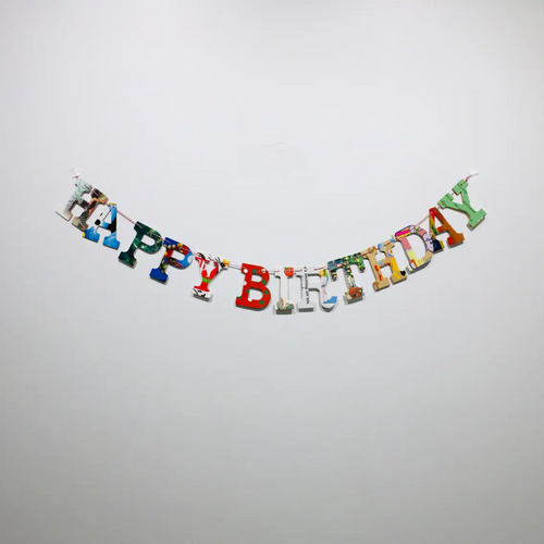 """Happy Birthday"" Upcycled Baby Book Garland"