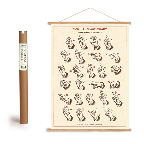 A Handy Guide to Sign Language Art Poster + Hanging Kit