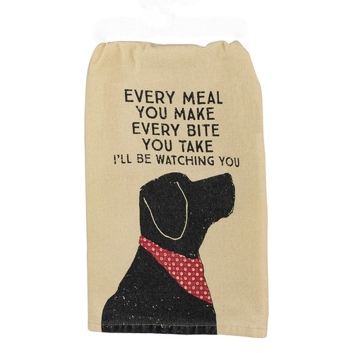 Black Lab Dog Lovers Kitchen Towel I'll Be Watching You