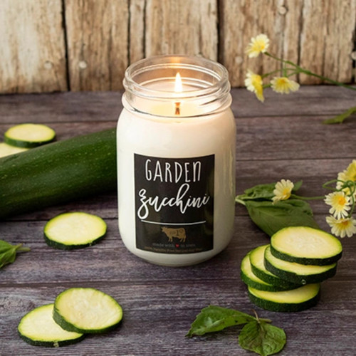 Farmhouse Mason Jar Candle Garden Zucchini