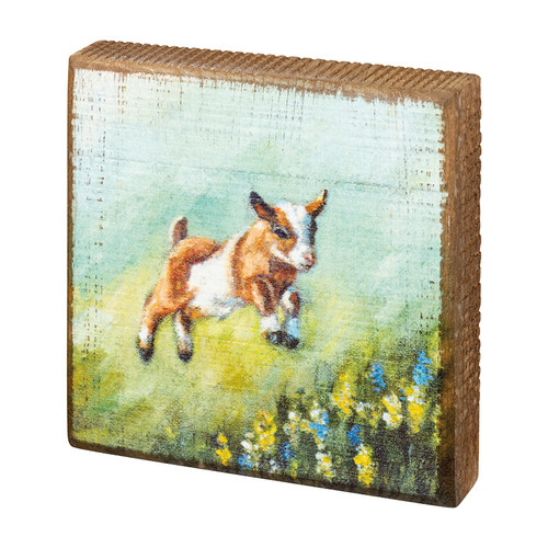 Adorable Frolicking Baby Goat Block Sign