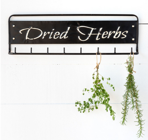 Distressed Metal Dried Herbs Hanging Rack