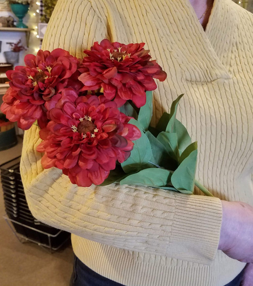 "Set of Three RED Zinnia Stems 27"" Long"