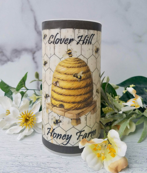 "Battery Operated Pillar Candle Honey Bees & Bee Skep (6"" White)"