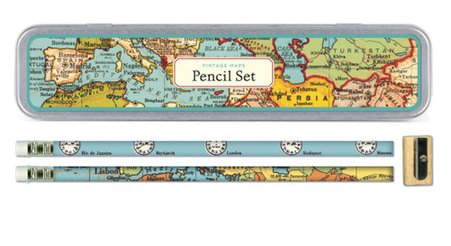 Cavallini Vintage Maps Pencil Set - B