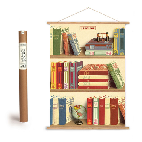 LIBRARY BIBLIOTHEQUE POSTER + HANGING KIT