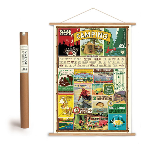 VINTAGE STYLE CAMPING ART POSTER AND HANGING KIT