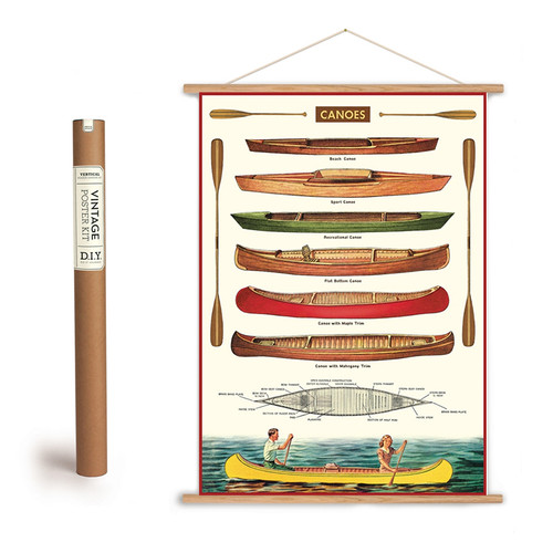 VINTAGE CANOE CHART ART POSTER AND HANGING KIT