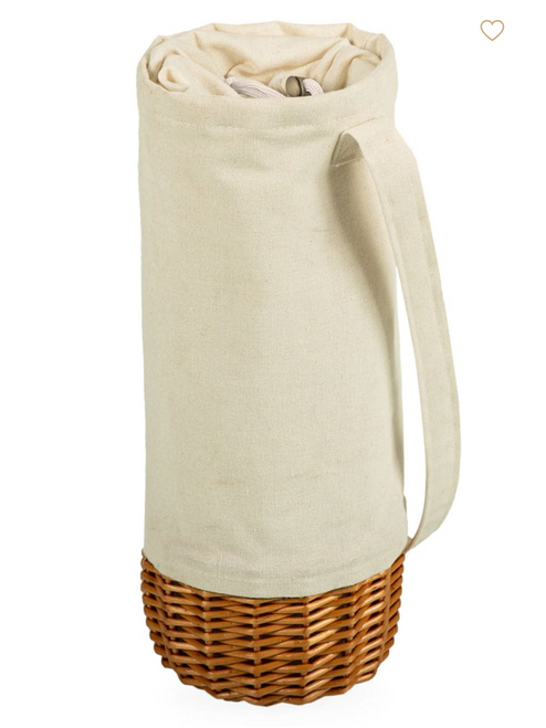 Natural White Canvas and Willow Insulated Wine Tote
