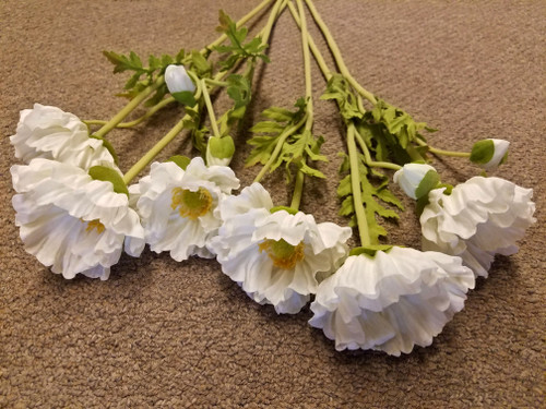 Set of SIX Bright Summer White Poppy Stems 19.5""
