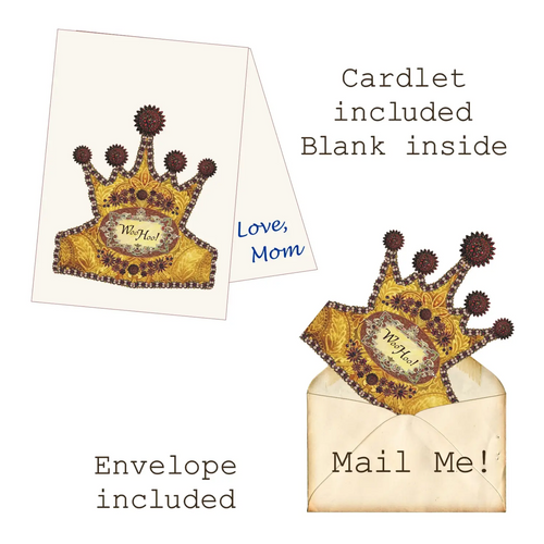 WOO HOO! Mailable Wearable Paper Tiara Greeting Card-B