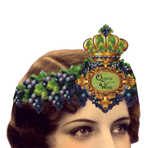 Queen of the Wine Mailable Wearable Paper Tiara Greeting Card