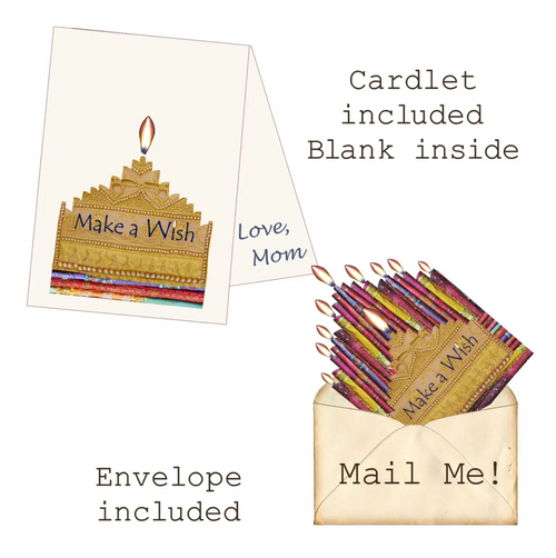 Make a Wish Birthday Candles Mailable Wearable Paper Tiara Boho Greeting Card