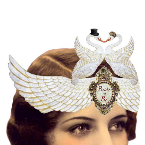 Bride to Be Mailable Wearable Paper Tiara Swan Greeting Card - A