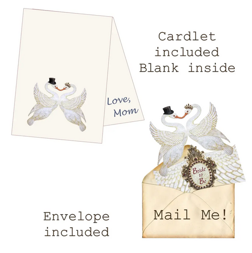 Bride to Be Mailable Wearable Paper Tiara Swan Greeting Card - B