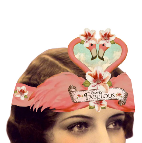 Simply Fabulous Pink Flamingos Wearable Paper Tiara Swan Greeting Card - A