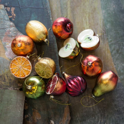 Twelve Jewel Tone Antique-Style Glass Fruit Christmas Ornaments