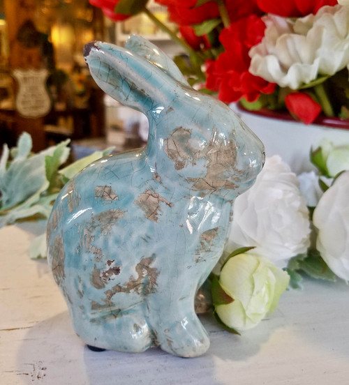 Petite Shabby Terra Cotta Rabbit Figure w Distressed Aqua Glaze