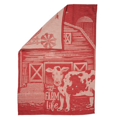 Living the Farm Life Jacquard Kitchen Towel - B