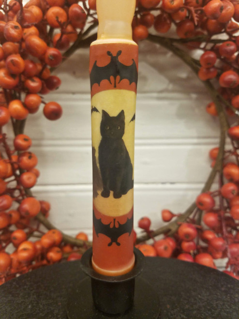 Black Cat and Halloween Bats LED Battery Operated Candle - B