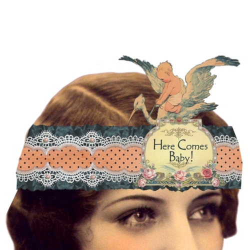 Here Comes Baby! Mailable Wearable Paper Tiara Greeting Card