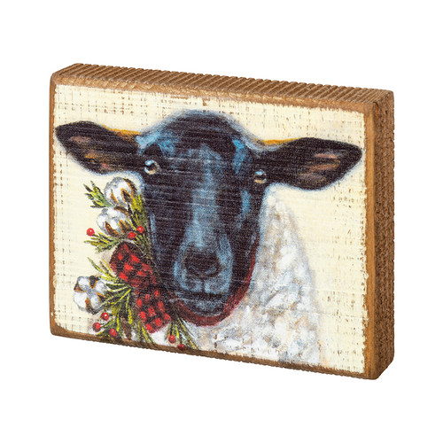 Rustic Farmhouse Christmas Sheep Block Sign
