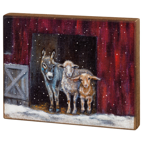 "Farmhouse Christmas Farm Family Box Sign - Donkey, Sheep & Goat (14x11"")"