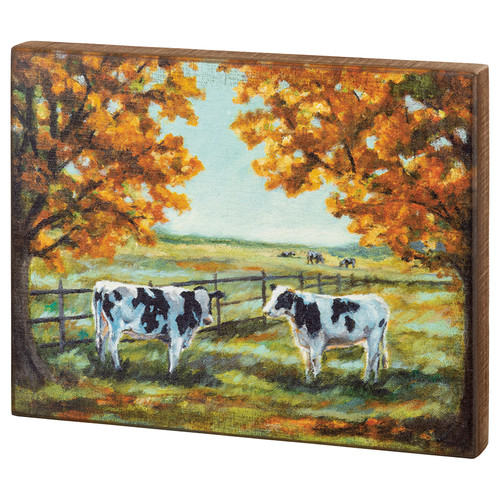Idyllic Farmhouse Autumn Box Sign Cows Rural Countryside