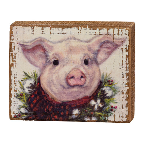 Christmas Pig in Buffalo Check Wooden Block Sign