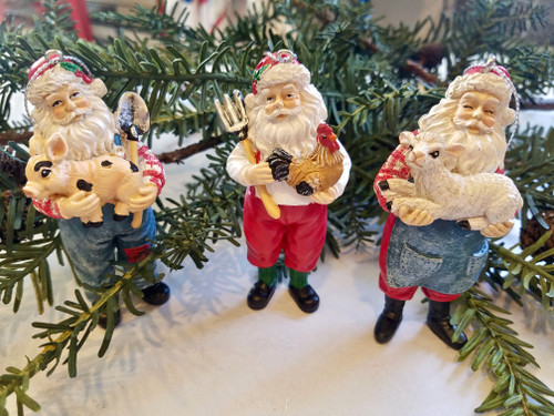 Set of 3 Farmer Santa Christmas Ornaments Hand-painted Resin