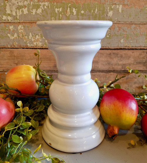 "Rustic Elegance White Glazed Terra Cotta Candle Stand 8"" Tall"