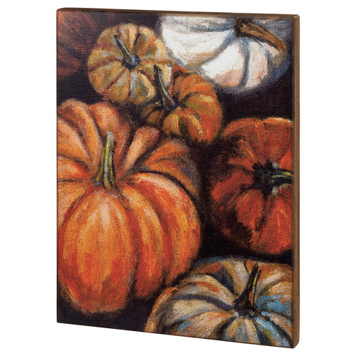 Extra Large Wooden Box Sign with Autumn Pumpkins - A