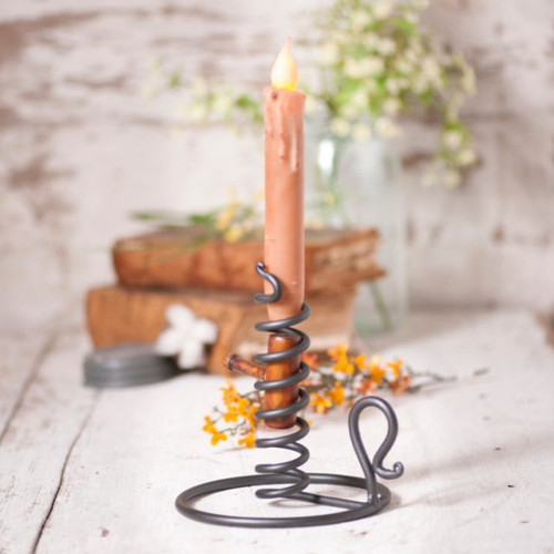 Metal Courting Candle Stand with Wooden Turning Plug