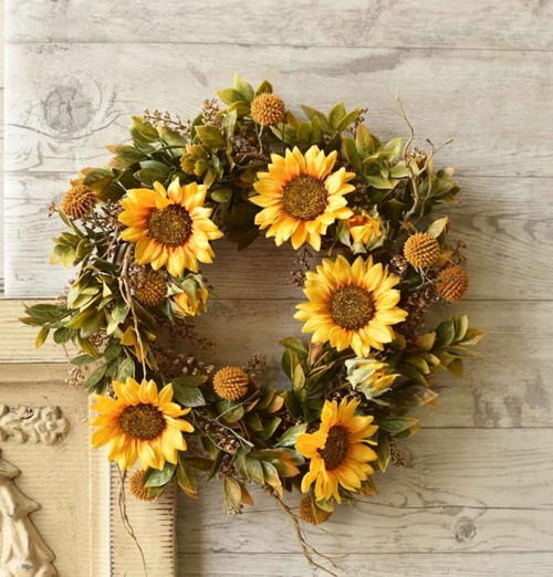 Vibrant Autumn Harvest Sunflower Wreath