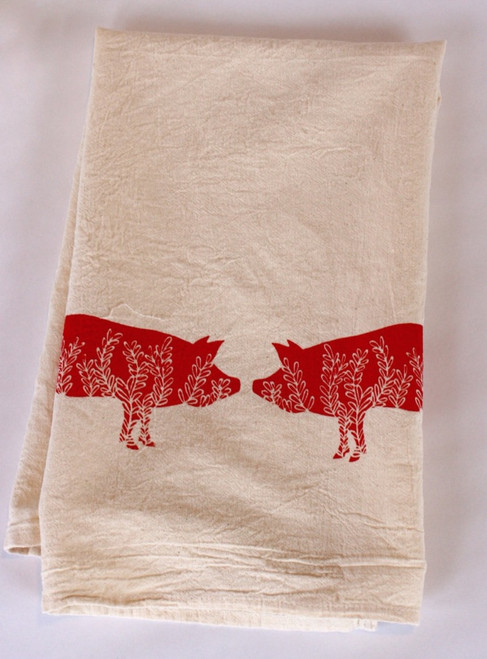 Two Little Piggies Flour Sack Tea Towel