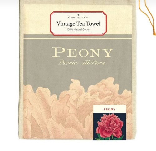 Dramatic Peony Kitchen Towel Vintage Botanical Illustration - B