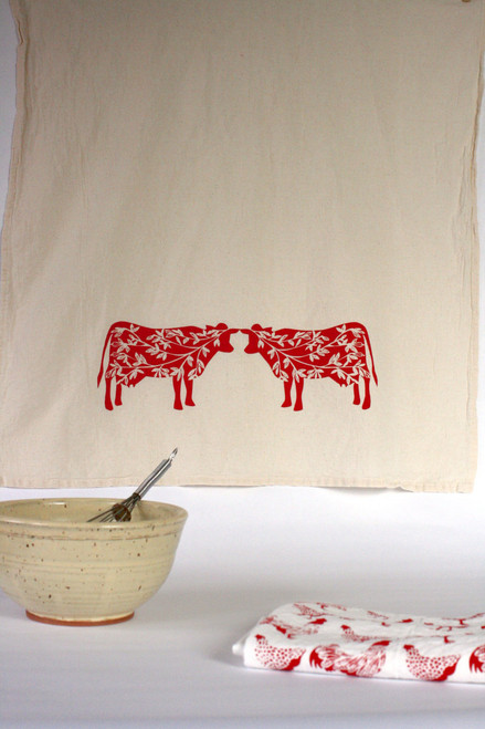Summer Cows Flour Sack Farmhouse Kitchen Tea Towel Big Picture
