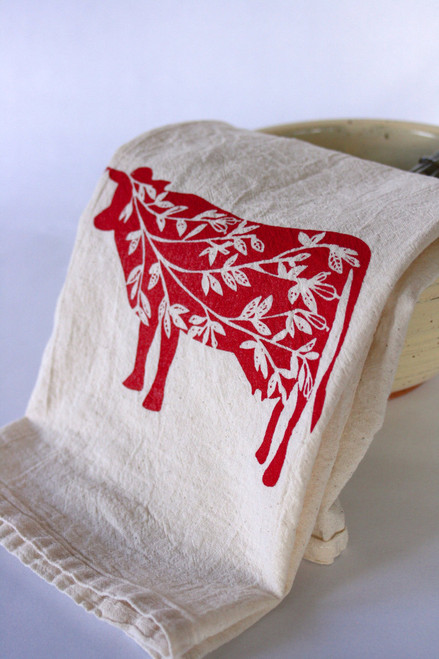 Summer Cows Flour Sack Farmhouse Kitchen Tea Towel Close Up