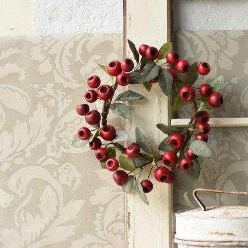 Festive Red Cardiff Seed Pod Candle Ring or Wreath