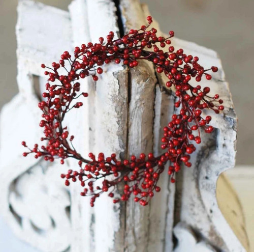 Festive Holiday Red Berry Candle Ring or Wreath