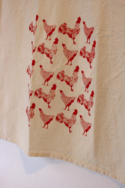 Sassy Hens & Roosters Flour Sack Tea Towel Close up