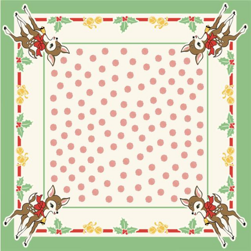 Vintage-Style Christmas Deer with Holly & Jingle Bells Tablecloth